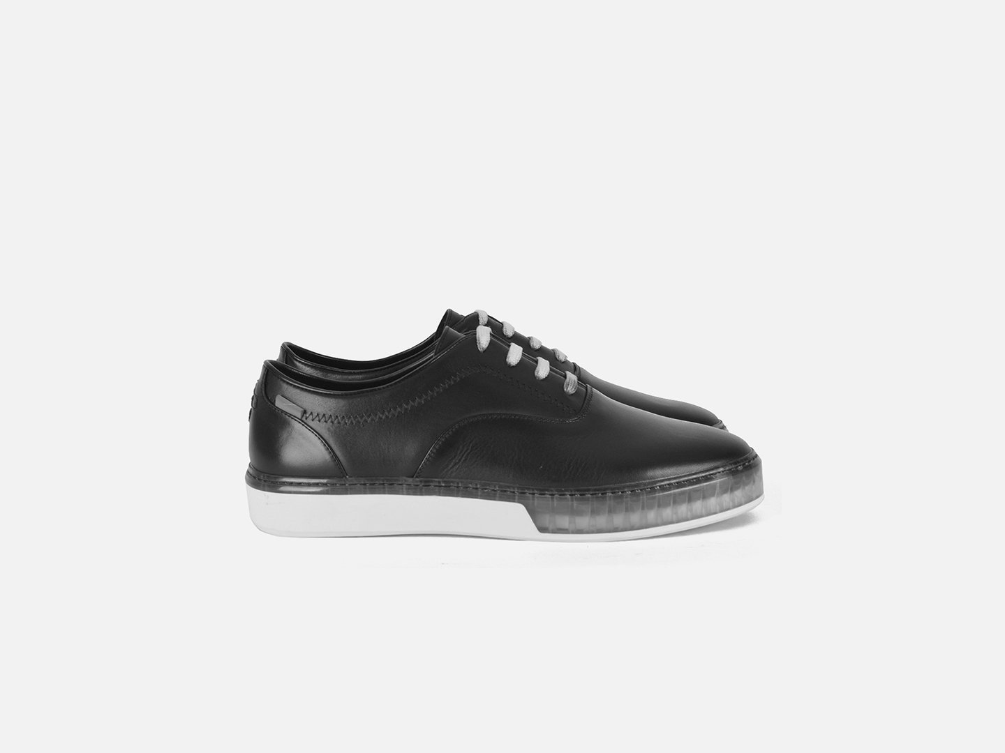 pregis wing black leather cupsole sneakers designed in London